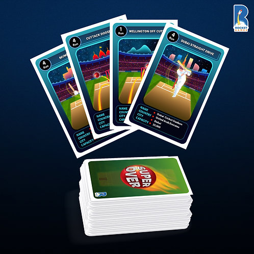 SUPER OVER cricket card game by KuniaLabs