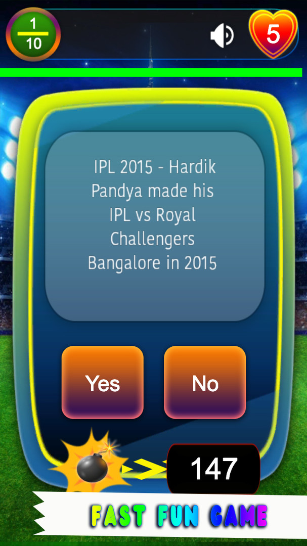 IPL T20 Cricket Quiz Game Timed Question