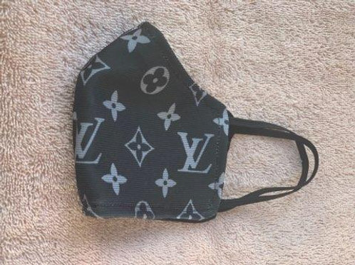 LV Gray and White Face Mask