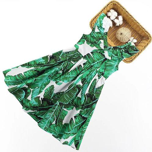 Tropical Print Sleeveless Dress