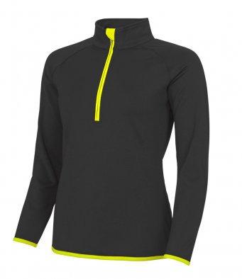 Ladies 1/4 Zip Top Black/Yellow