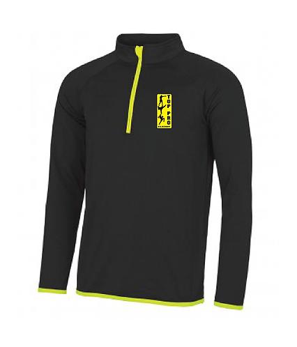 Mens 1/4 Zip Top Black/Yellow
