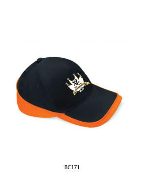 Baseball Cap 2 Colour Black/Orange