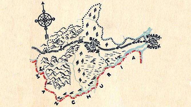 A map of Birobidzhan an the Jewish Autonomous Oblast