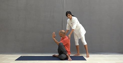 half spinal twist pose  vedic health yoga