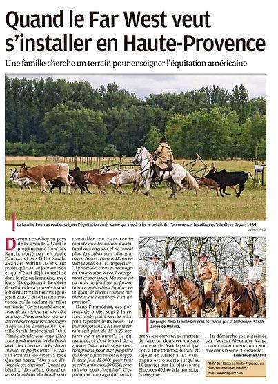 Article journal LA PROVENCE 05-01-2021 Emmanuelle Fabre