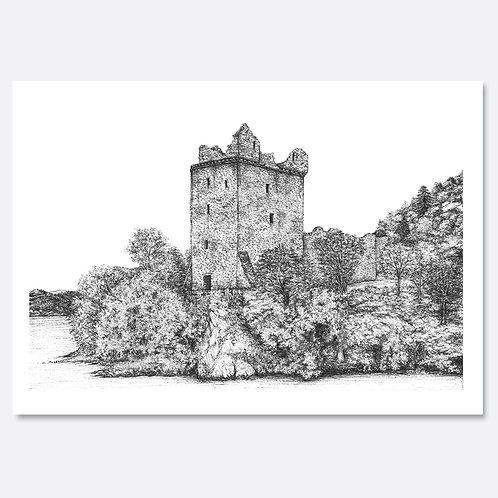 Urquhart Castle, Loch Ness - Original Drawing