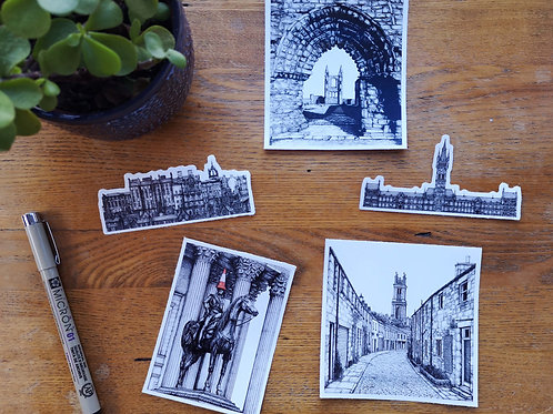 Set of 5 Scottish Architecture Stickers