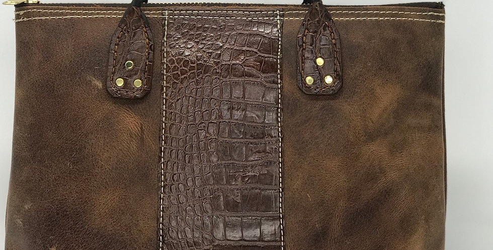 American Alligator & Water Buffalo Tote with Rolled Handles.