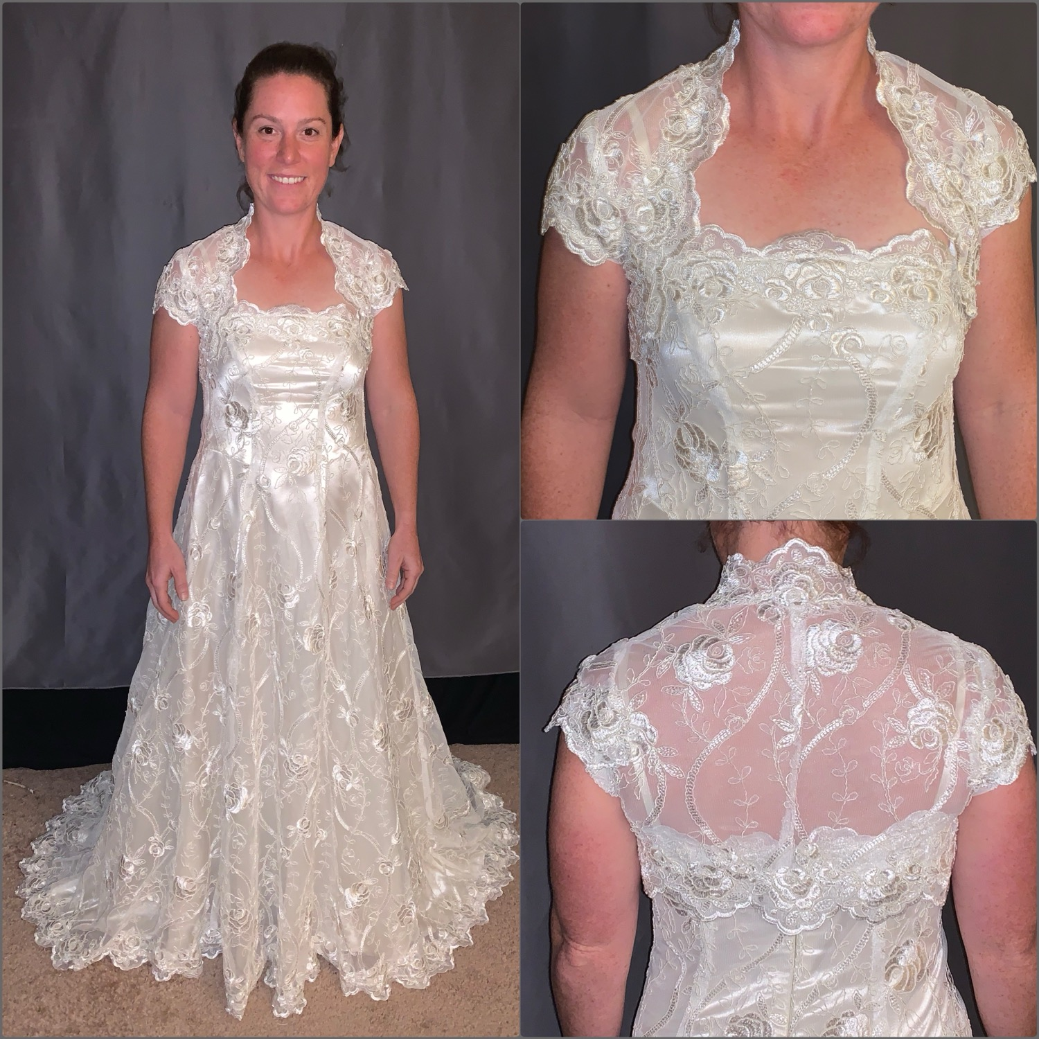 custom made wedding dress and shrug bolero by seamstress Lena