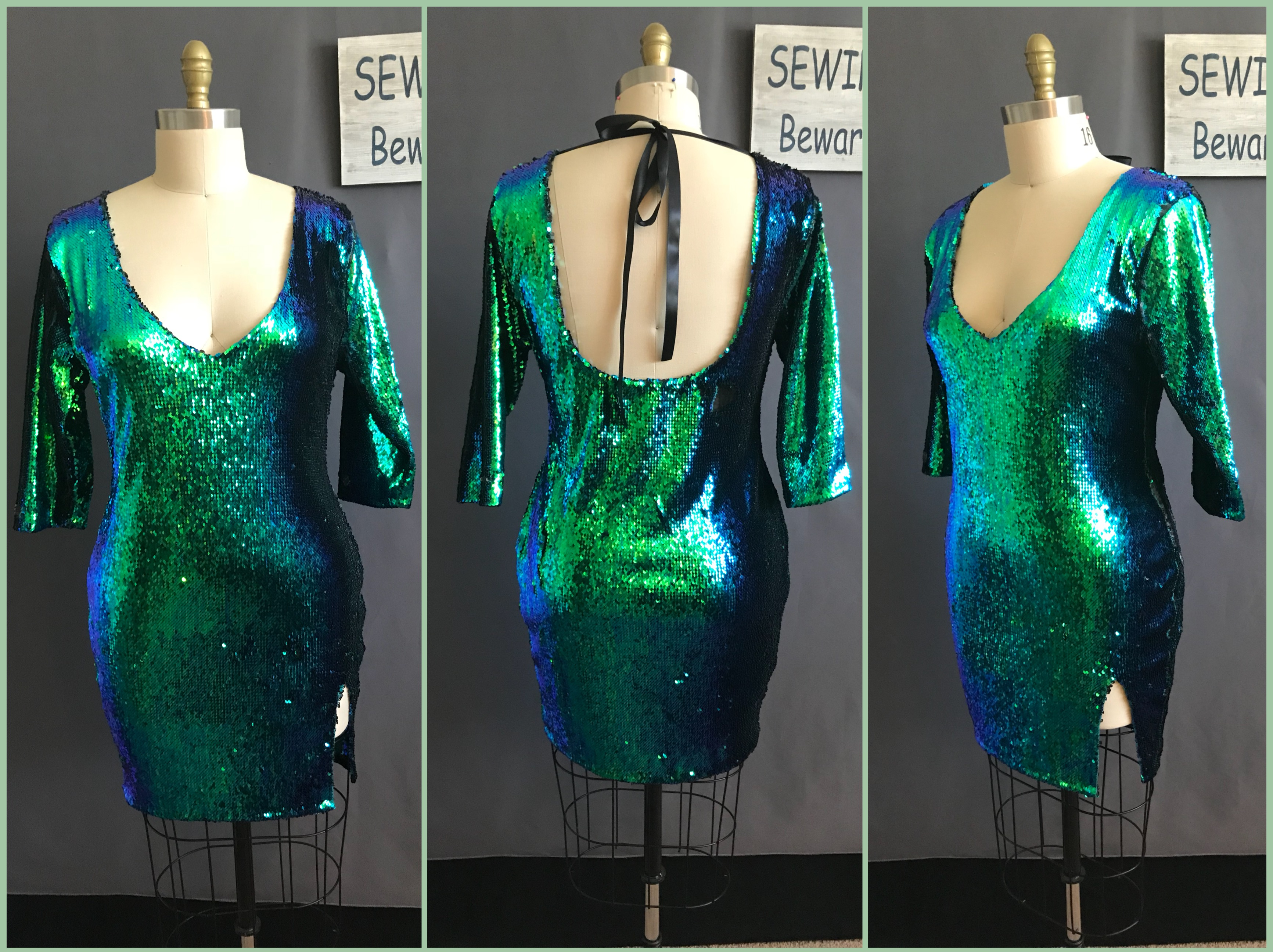 custom made mermaid sequins dress by seamstress Lena