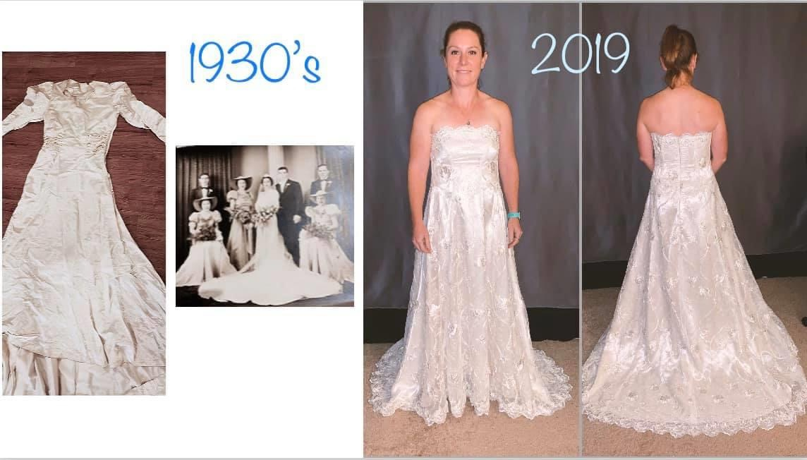 remodeling 1930 wedding dress to modern wedding dress by seamstress Lena