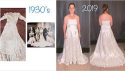 remodeling 1930 wedding dress to modern wedding dress by seamstress Lena