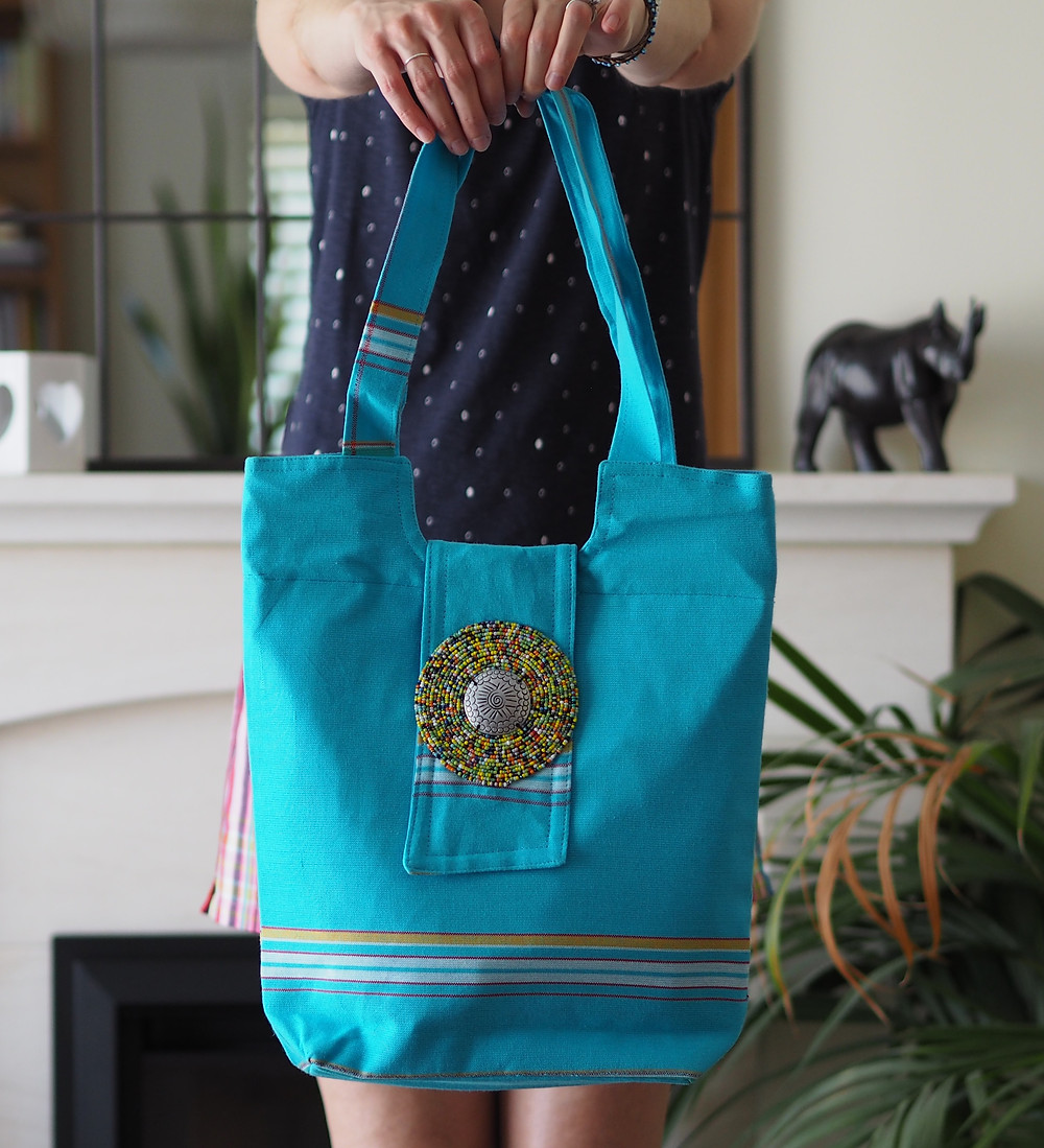 Handmade cotton kikoy beach bags available to buy at Wild Home Online on Etsy
