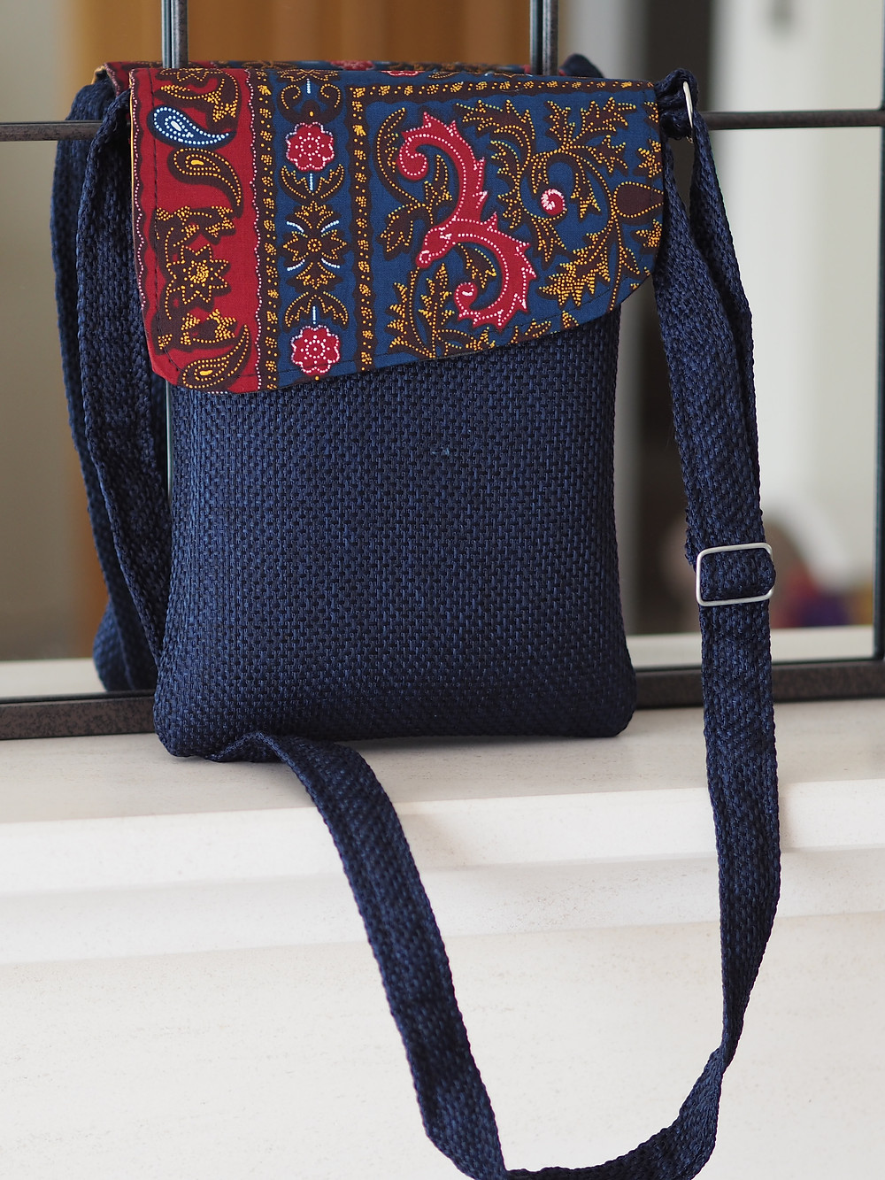 Navy kikoy and sisal handmade crossbody bag available to buy at Wild Home Online on Etsy