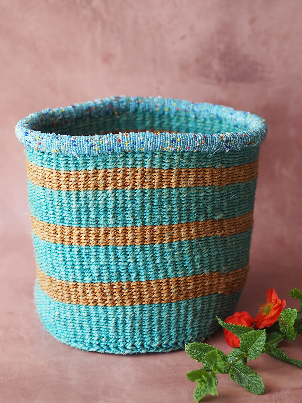 turquoise and ocre striped basket