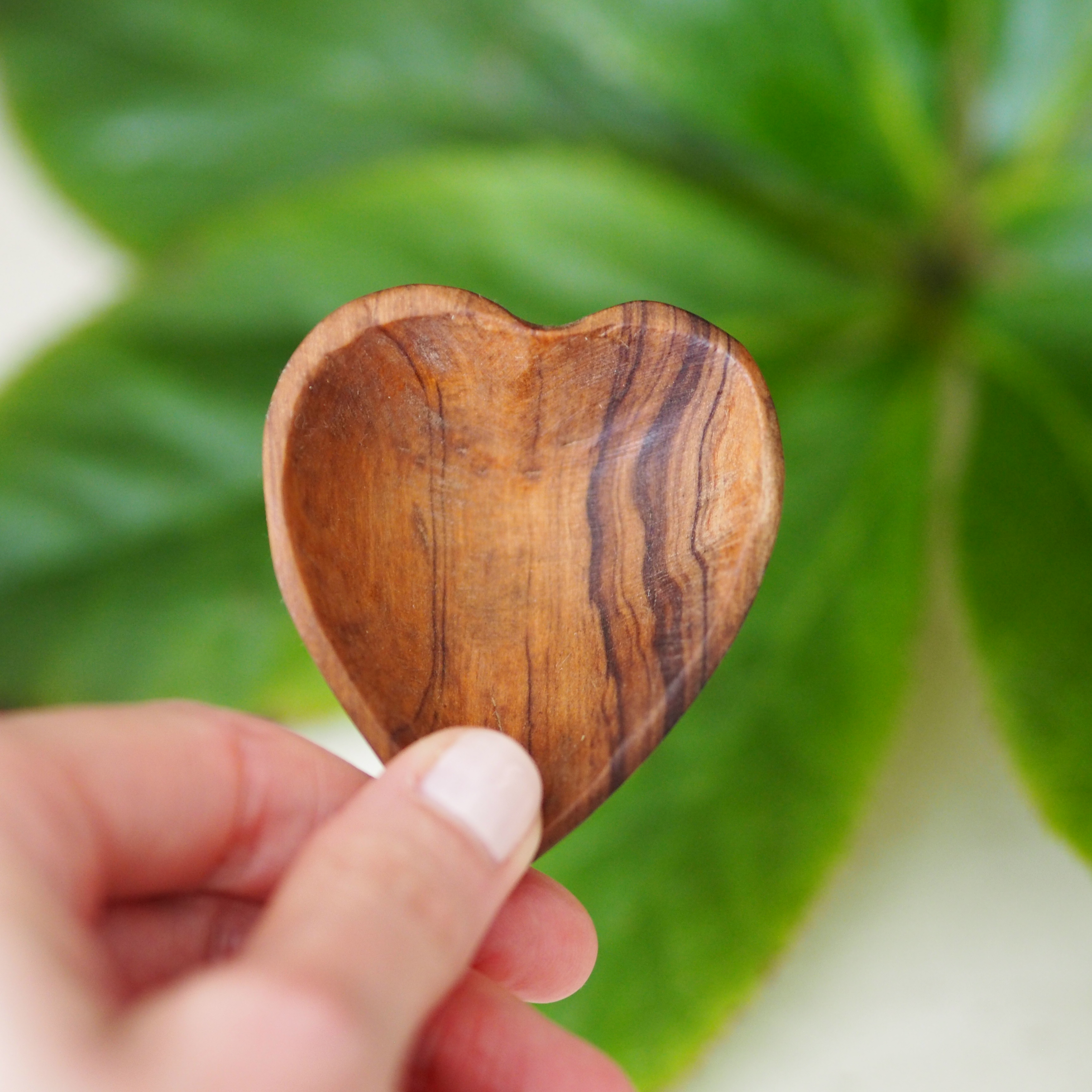 Little wooden heart against green.JPG