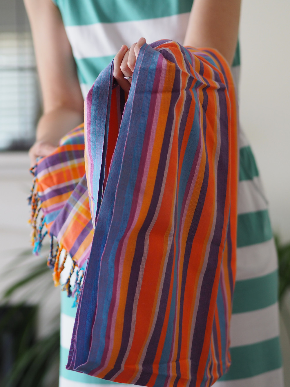 Handmade kenyan cotton sarong cover up. Available to buy at Wild Home Online on Etsy.