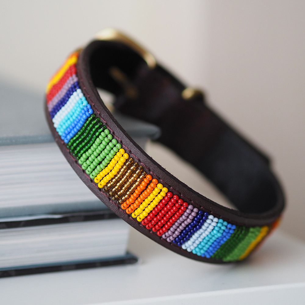 handmade leather beaded kenyan dog collar available to buy on the Wild Home Online Etsy shop