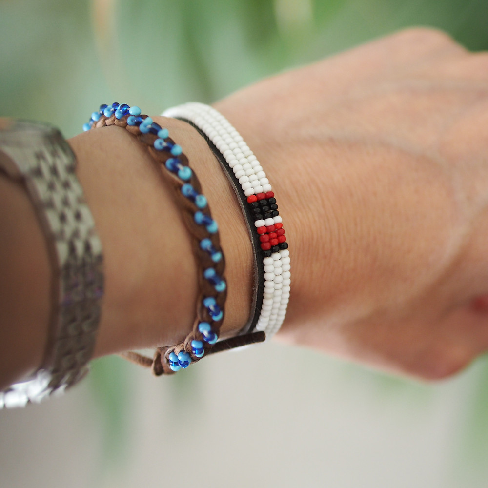 Leather beaded friendship bracelets available to buy at Wild Home Online on Etsy.