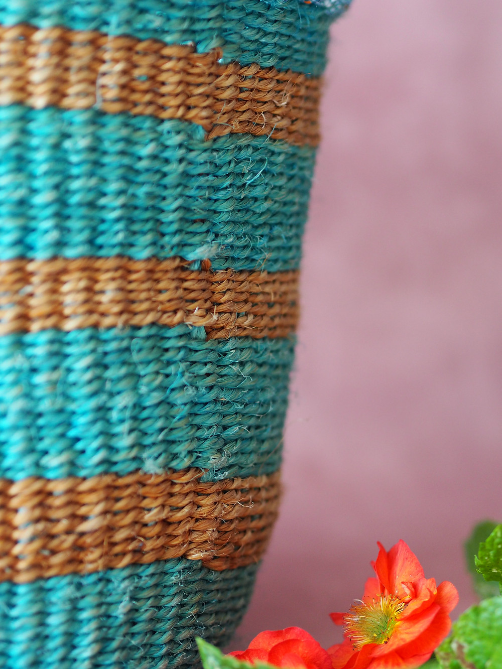 turquoise striped basket detail