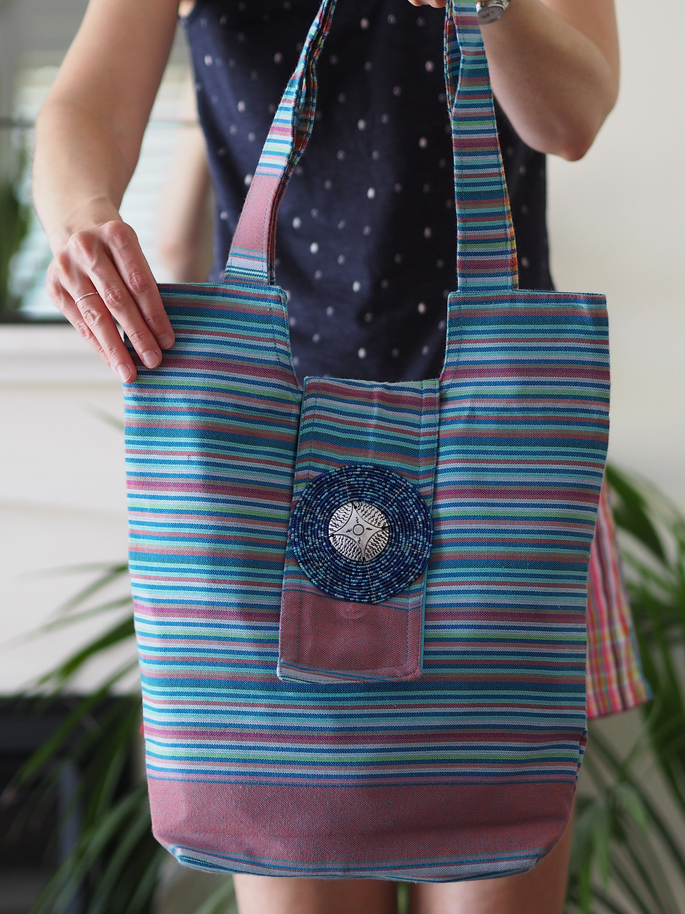 blue and rose bag for life cotton kikoy shopper. Available to buy at Wild Home Online on Etsy.