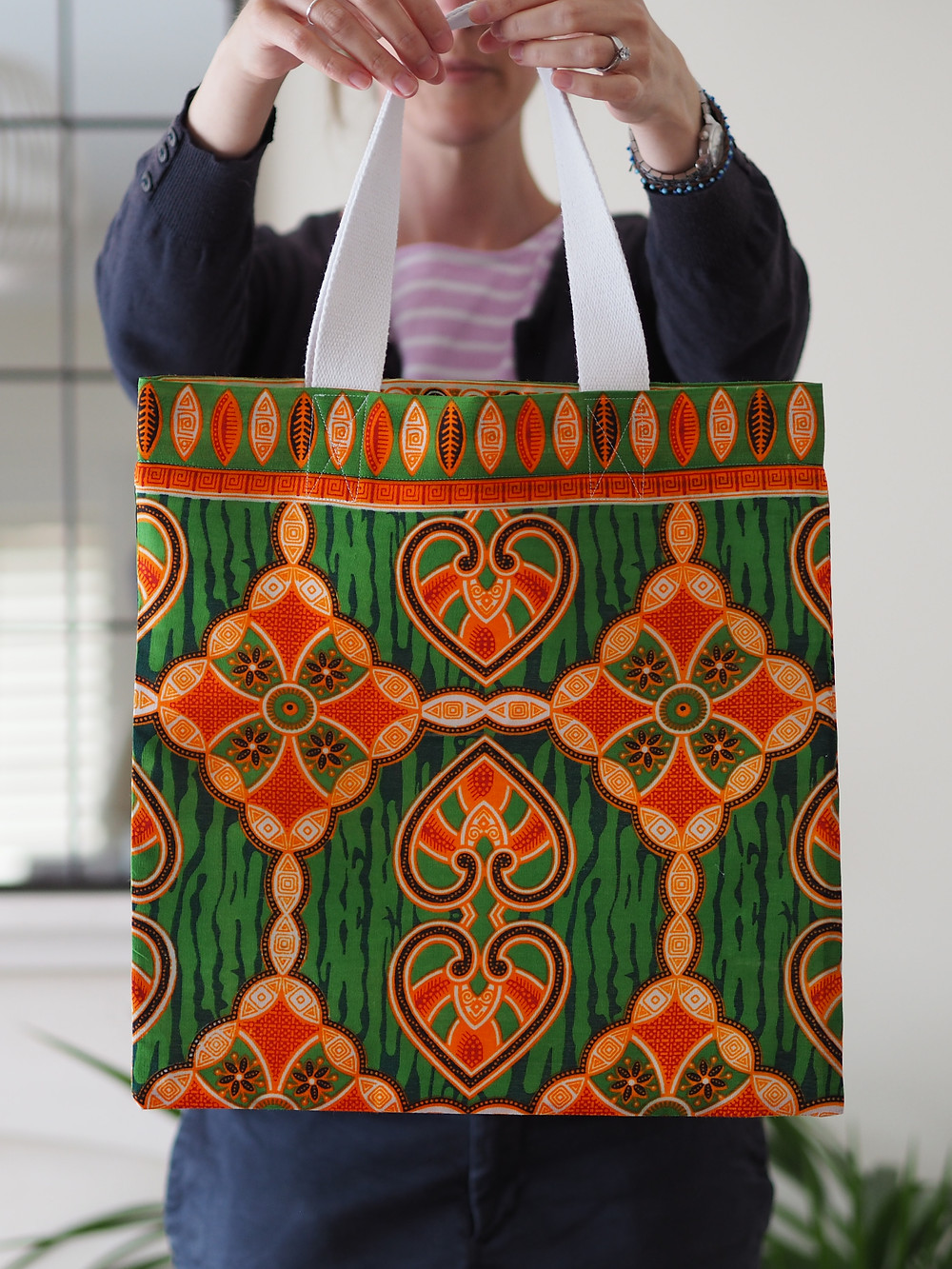 yellow and green handmade african market bag available to buy at Wild Home Online on Etsy