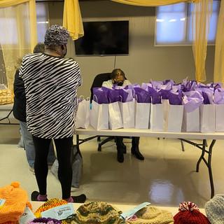 Preparing gift bags