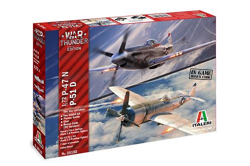 Kit para montar - War Thunder Thunderbolt P-47N & Mustang P-510 - 1/72 - Italeri