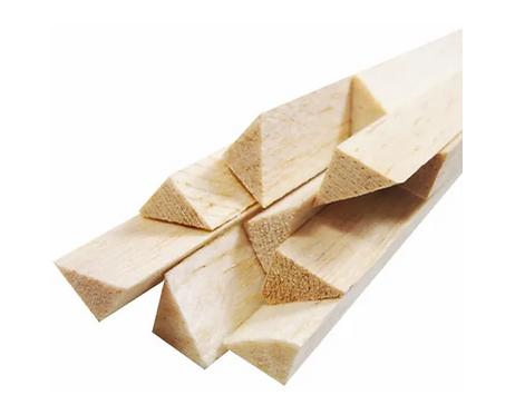 Vareta Triangular de Madeira Balsa 8MM x 8MM x 930MM