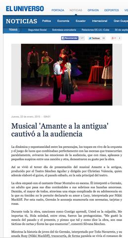 Dirario El Universo sobre el musical Amante a la Antigua
