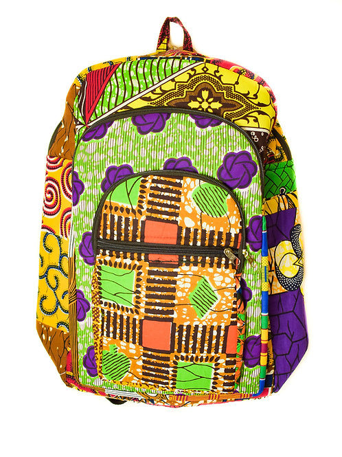Multi- Fabric Print Backpack-2