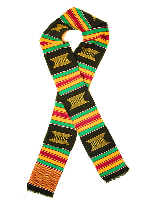Black Kente Cloth Scarf