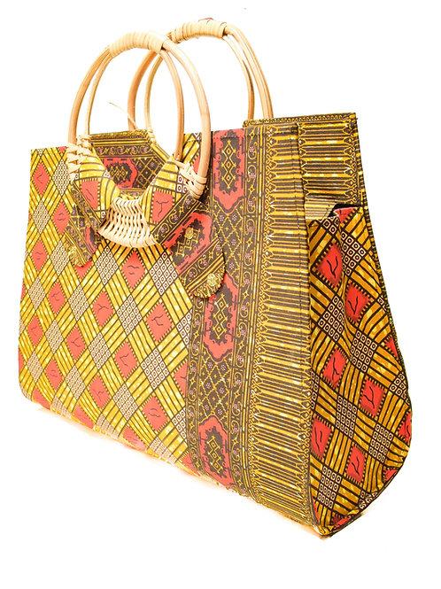 Wooden Handle Ankara Handbag