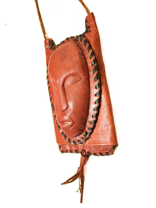 Mask Face Mini Cross Body  Leather Pouch