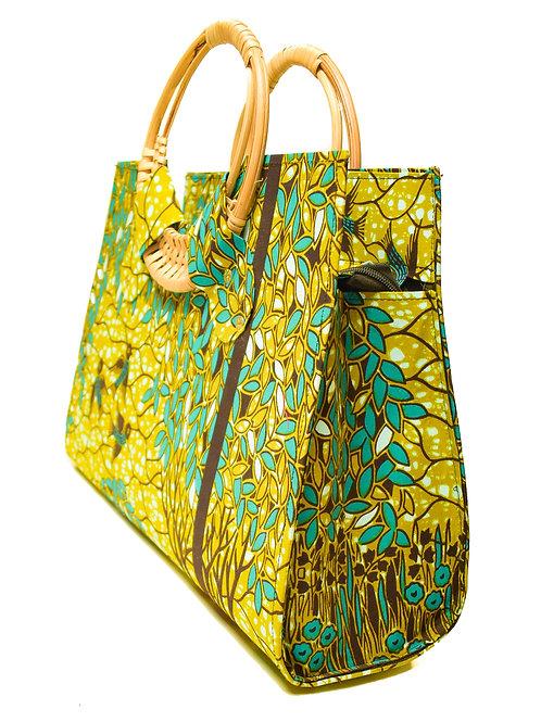 """Leaves"" wooden handle bag"