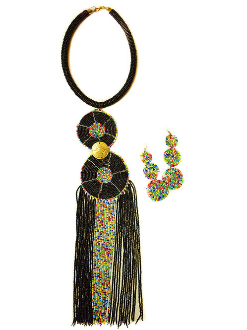 Black beaded necklace set