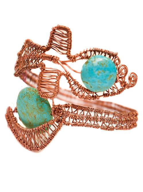 Turquoise Ankh + Moon Bracelet