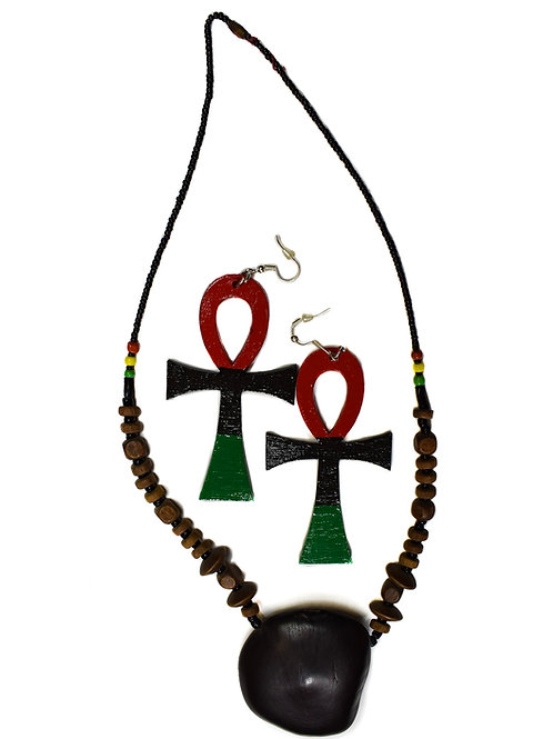 Wooden Ankh earring and necklace set