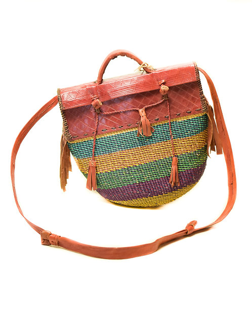 Colorful Woven and Leather bag