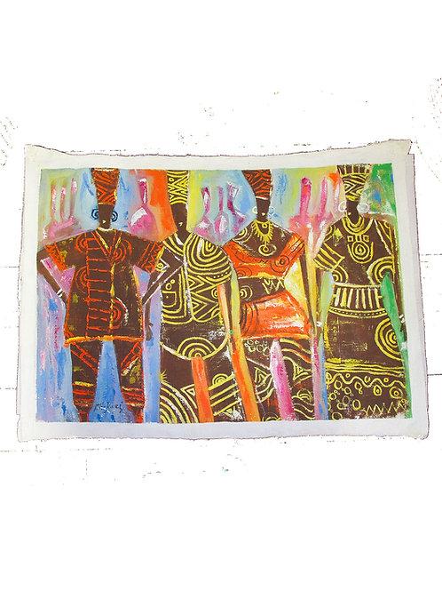 """Tribe"" cloth art"