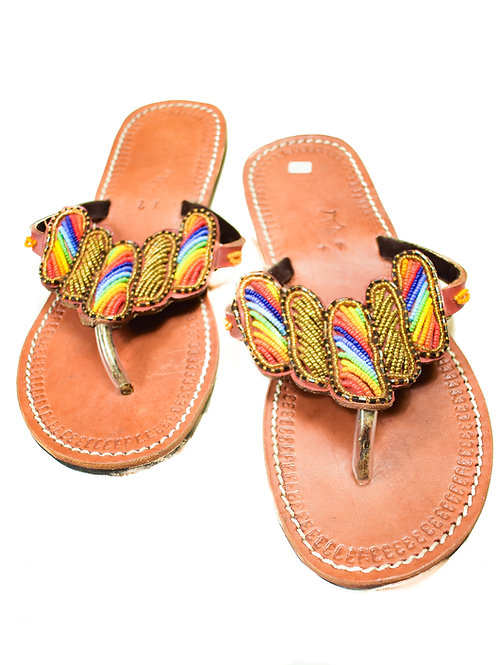 Rainbow beaded leather sandals