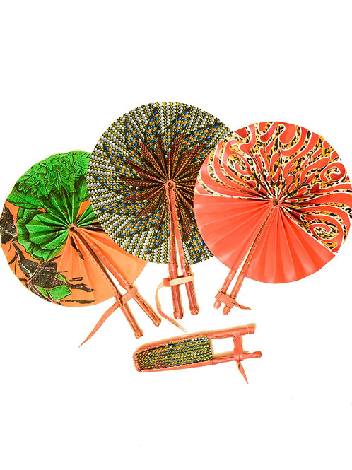 Ankara Fabric Flip Fan with leather handle