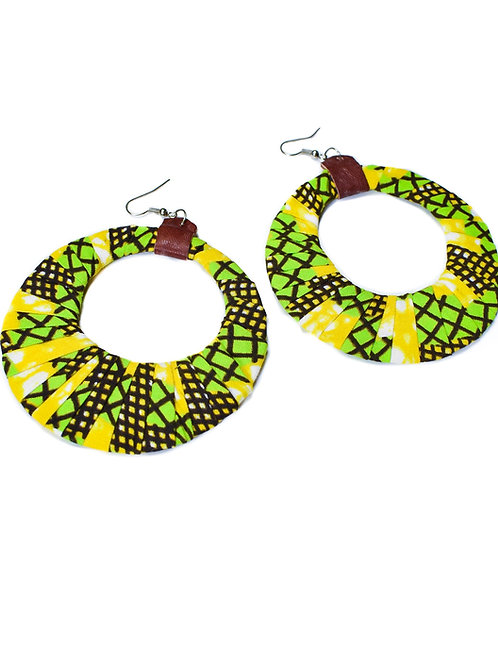 Afrikan Print and Leather Earrings