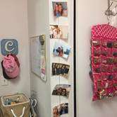 Caroline English's DIY photo display and jewelry holder. Attach your favorite photos to string for a new way to decorate. Photo by Chase Davis.