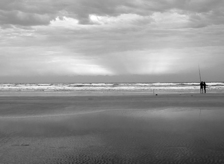 Black and white beach sunset photograph Venus Bay South Gippsland