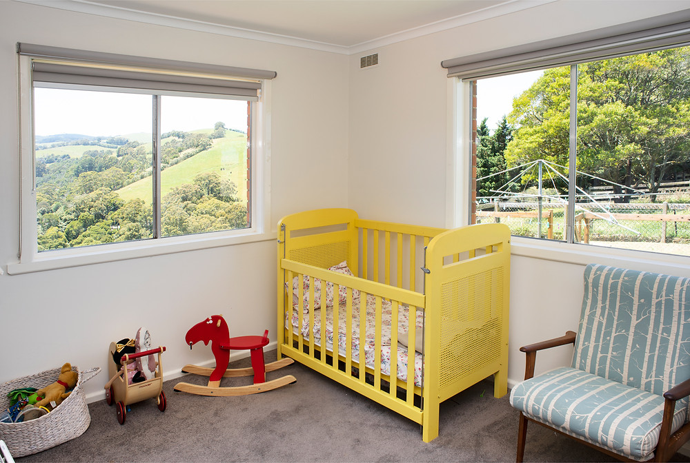 Child's bedroom with an amazing view in South Gippsland.