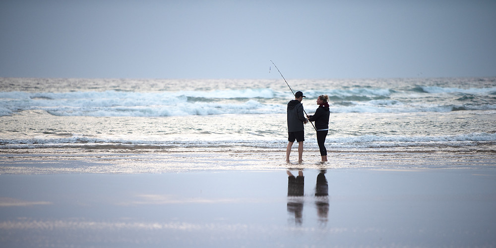 Couple fishing together South Gippsland.