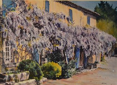 Vieux mas à la glycine au Paradou, en Provence (aquarelle)