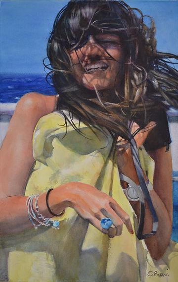Aquarelle. Portrait de jeune fille.